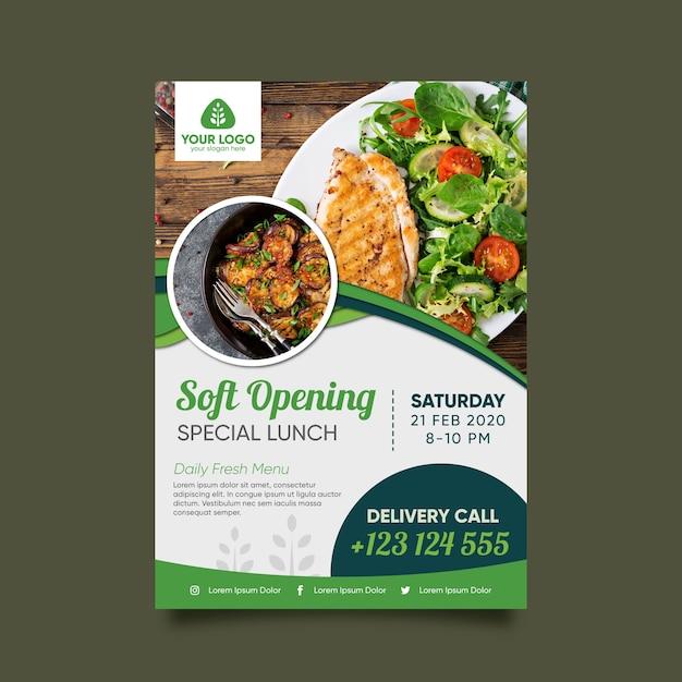 Healthy food restaurant flyer template Premium Vector