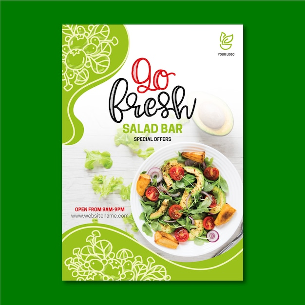 Healthy food restaurant flyer template Free Vector