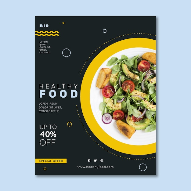 Healthy food restaurant flyer with photo Free Vector