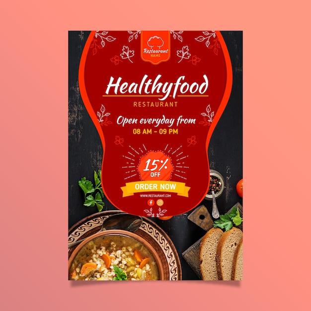 Healthy food restaurant flyer Free Vector