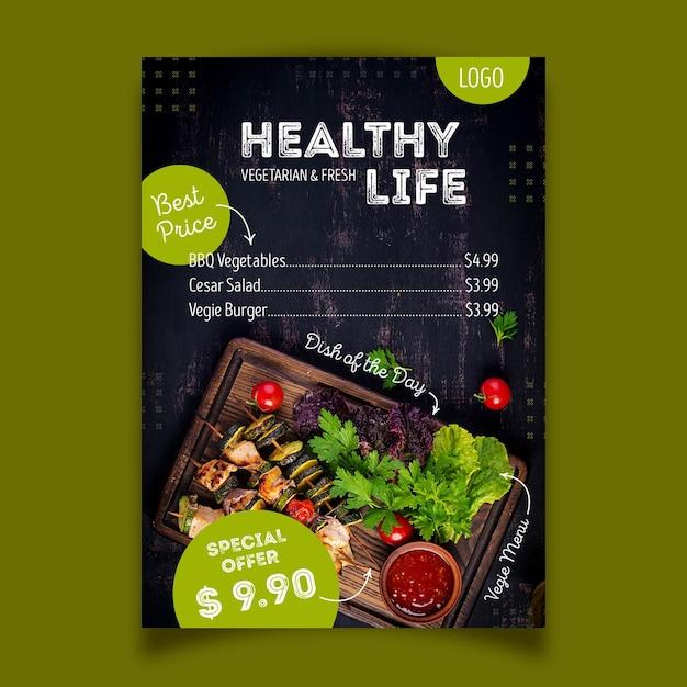 Healthy food restaurant poster design Premium Vector