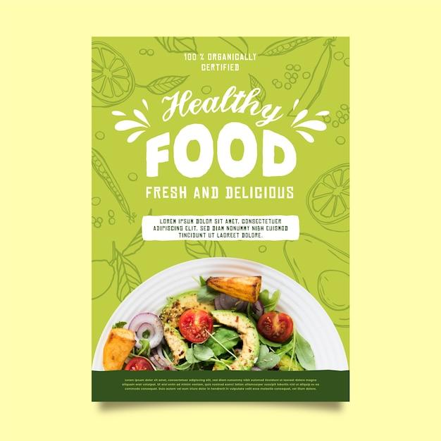 Шаблон плаката ресторана здорового питания Premium векторы