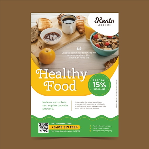 Healthy food restaurant poster template Free Vector
