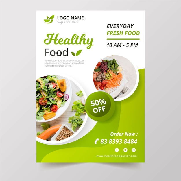 Healthy food restaurant poster Premium Vector