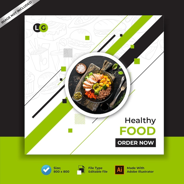 Healthy food restaurants banner and social media post Premium Vector