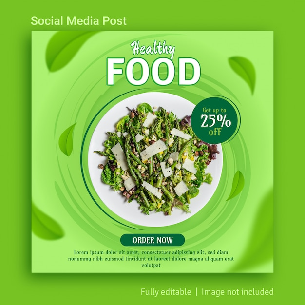Healthy food sale social media post advertising template design Premium Vector