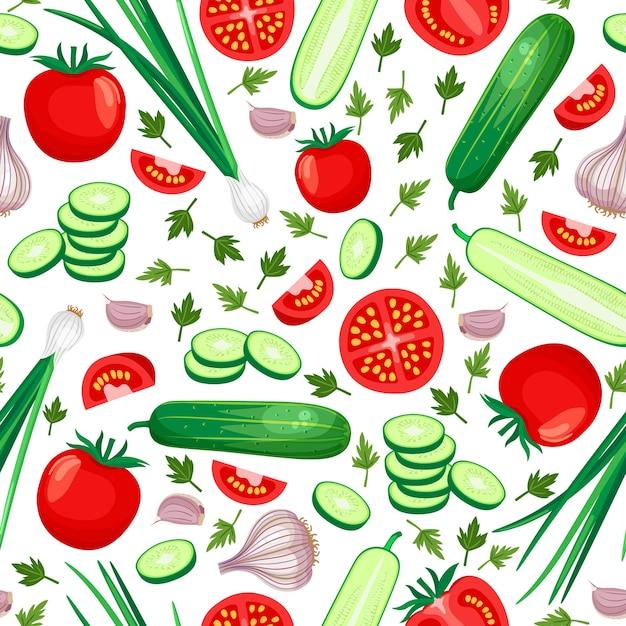 健康食品のシームレスなパターン。きゅうり、トマト、玉ねぎ、にんにく。ベクトルイラスト 無料ベクター