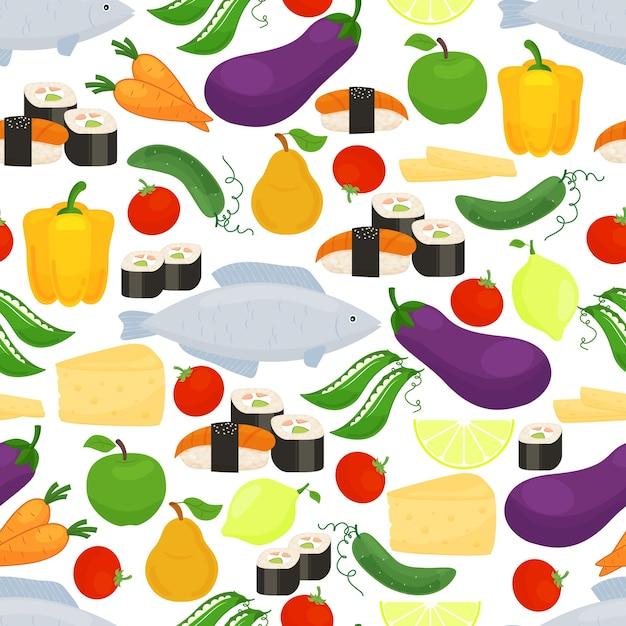 Здоровая пища бесшовные модели с красочными разбросанными иконами баклажанов, болгарского перца, рыбы, суши, фруктов, лимона, сыра, гороха, моркови, помидоров и огурцов в квадратном формате Бесплатные векторы