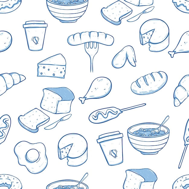 Healthy food in seamless pattern with doodle style Premium Vector
