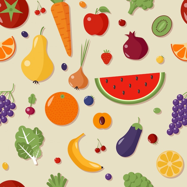 Healthy food seamless pattern with fruits and vegetables Premium Vector
