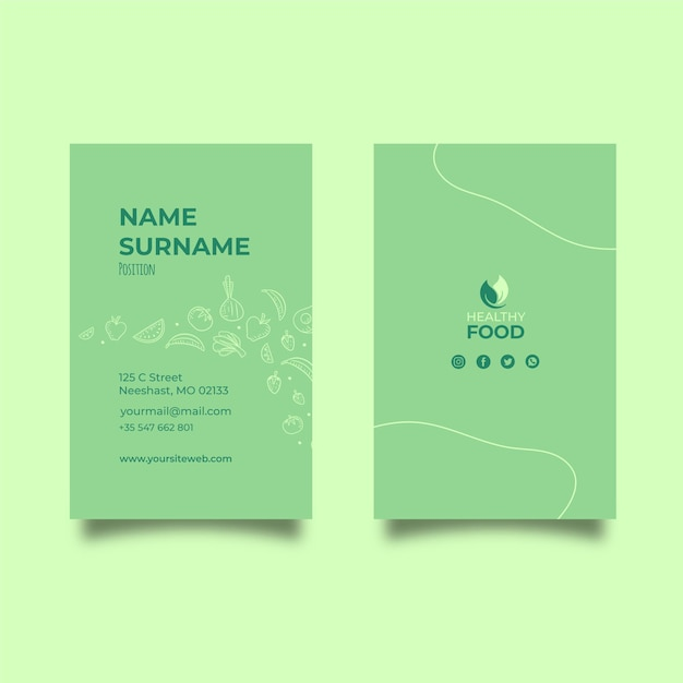 Healthy food vertical business card template Free Vector