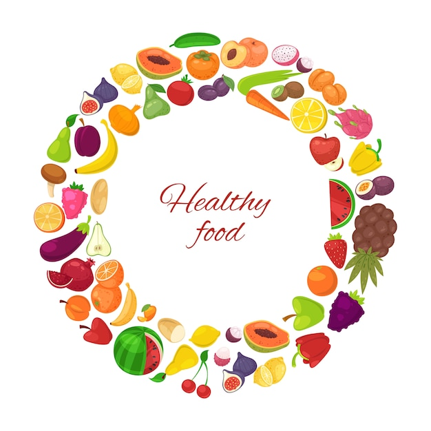 Healthy food with organic fruits and vegetables in circle isolated on white Premium Vector