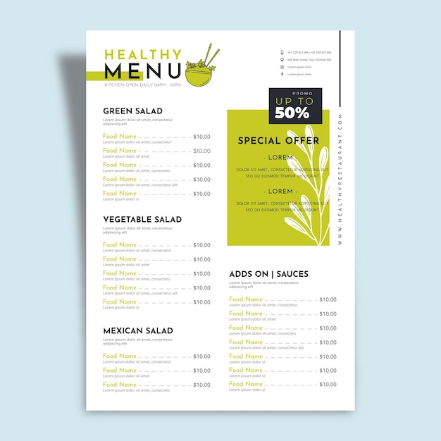 Healthy food with special offers restaurant menu Free Vector
