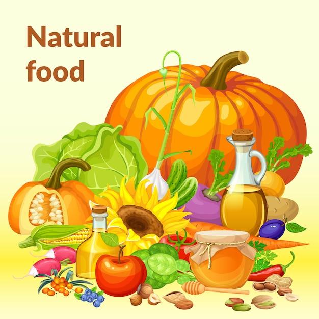 Здоровая пища. Premium векторы