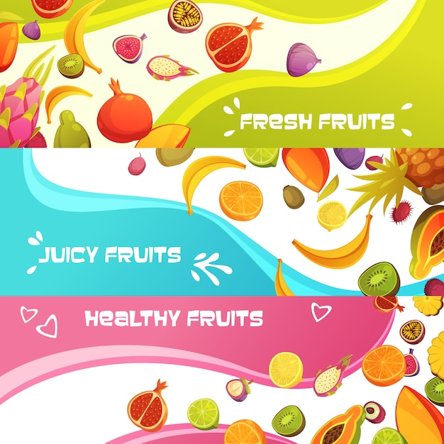 Healthy fresh fruits appetizing horizontal banners set with orange banana and pineapple Free Vector