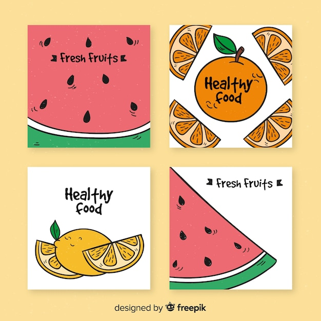 Healthy fresh fruits card collection Premium Vector