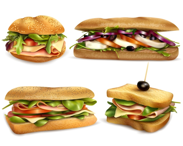 Healthy fresh ingredient sandwiches realistic set Free Vector