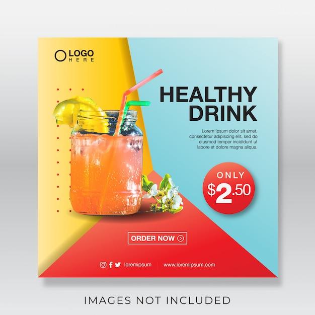 ソーシャルメディアの健康的なフレッシュジュースドリンクバナー Premiumベクター