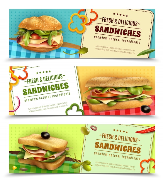 Healthy fresh sandwiches advertisement banners set Free Vector