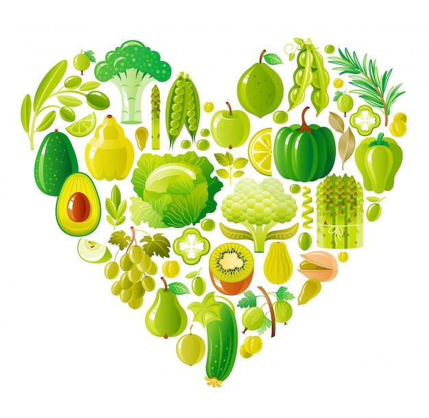 健康的な果物と野菜のグリーンハート、有機食品 Premiumベクター