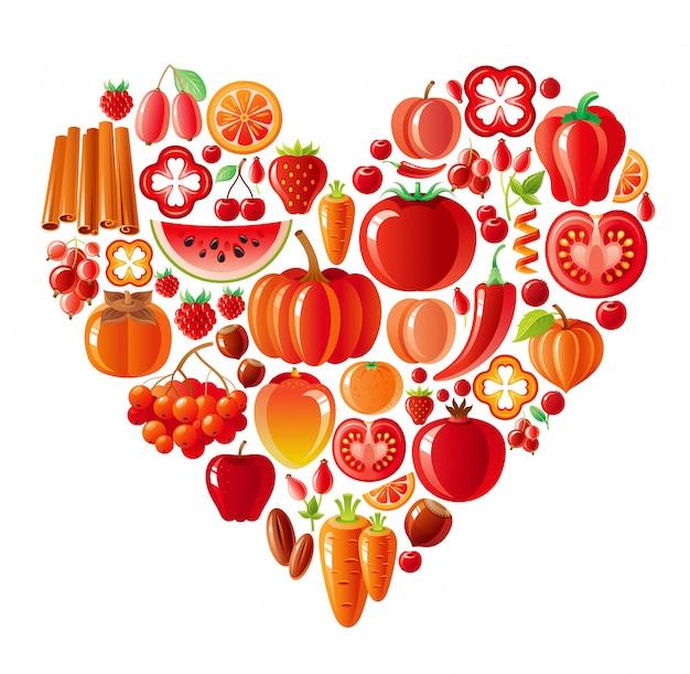 健康的な果物と野菜の赤いハート、有機食品 Premiumベクター
