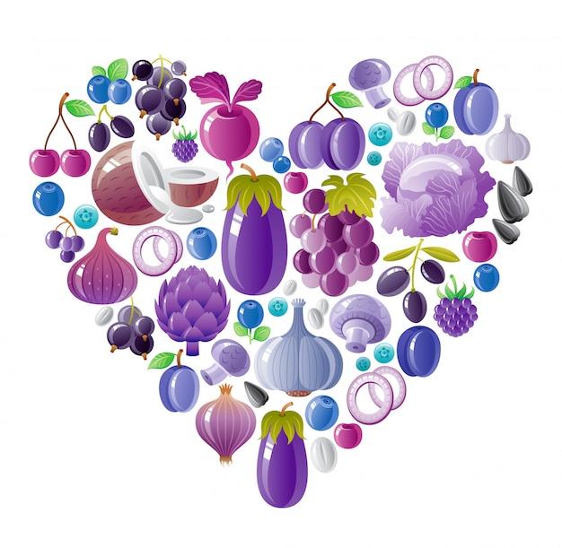 健康的な果物と野菜バイオレットブルーハート、有機食品 Premiumベクター