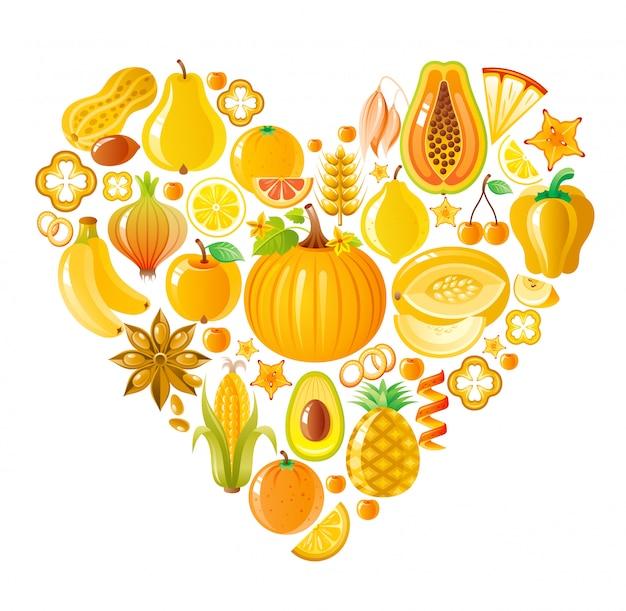 健康的な果物と野菜のイエローハート、有機食品 Premiumベクター