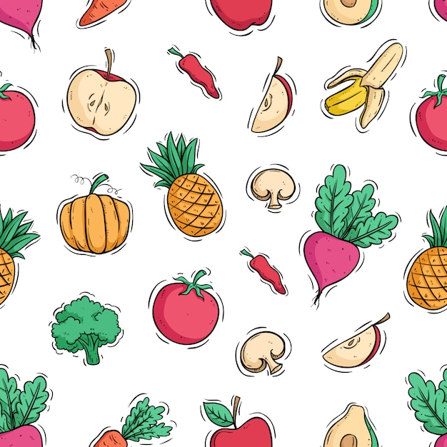 Healthy fruit and vegetable in seamless pattern with colored doodle style Premium Vector
