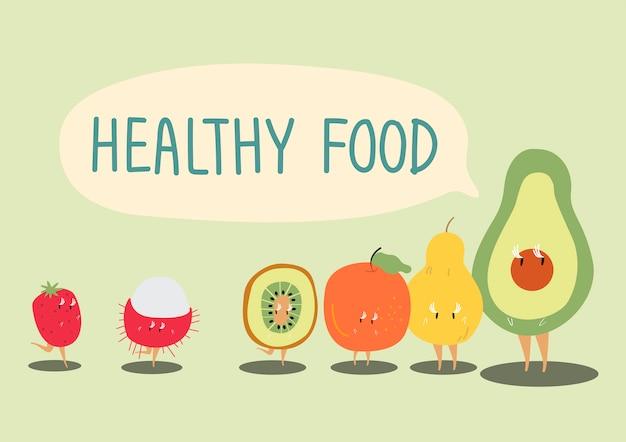 Healthy fruits cartoon character vector Free Vector