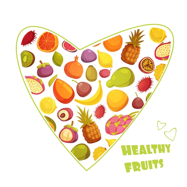Healthy fruits diet advertisement with hart shaped assortment of pear banana grapefruit and pineapple abstract vector illustration Free Vector