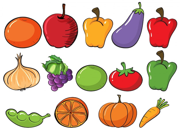 Healthy fruits and vegetables Free Vector