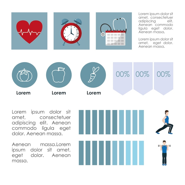 Healthy habits lifestyle infographic Premium Vector