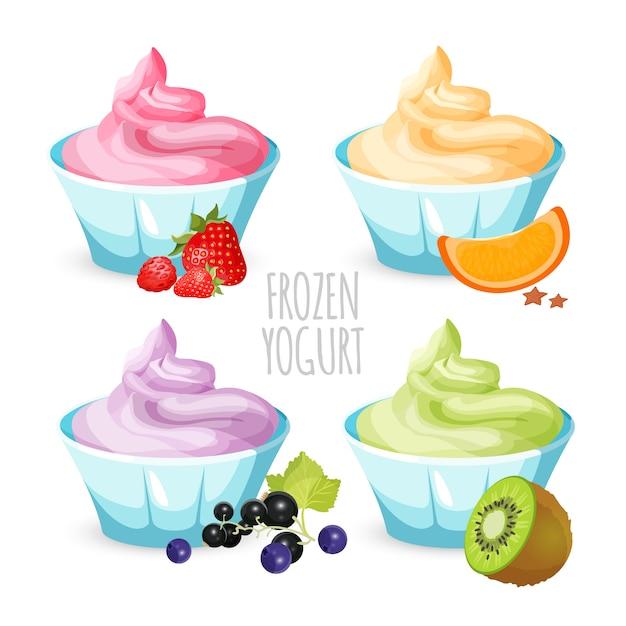 Healthy home-made frozen yogurt dessert Premium Vector