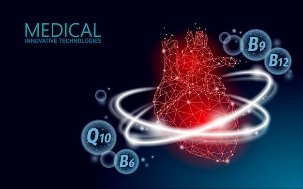 Healthy human heart 3d vitamin low poly. Premium Vector