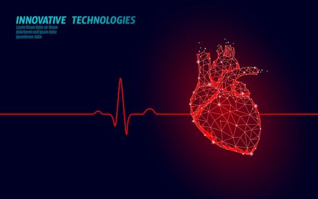 Healthy human heart beats 3d medicine model low poly. triangle connected dots glow point red. pulse