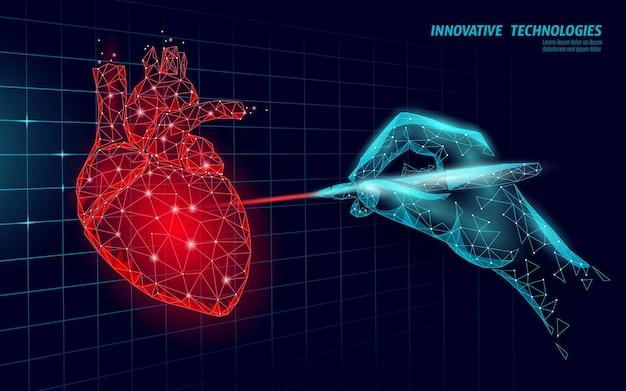 Healthy human heart beats 3d medicine model low poly Premium Vector