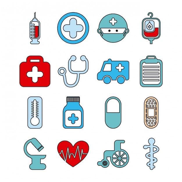 Здоровые иконки на белом фоне векторные иллюстрации Premium векторы