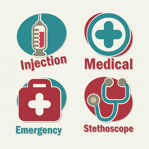 Healthy icons over white background vector illustration Premium Vector