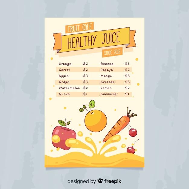 Healthy Juice Menu Template Vector Free Download