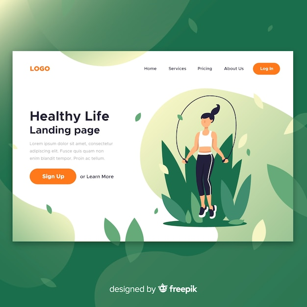 Healthy life landing page Free Vector