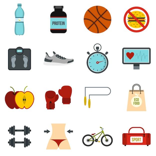 Healthy life set flat icons Premium Vector