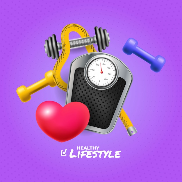 Healthy life square banner with realistic objects Free Vector