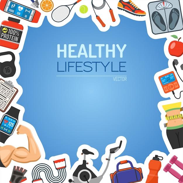 Healthy lifestyle background Premium Vector