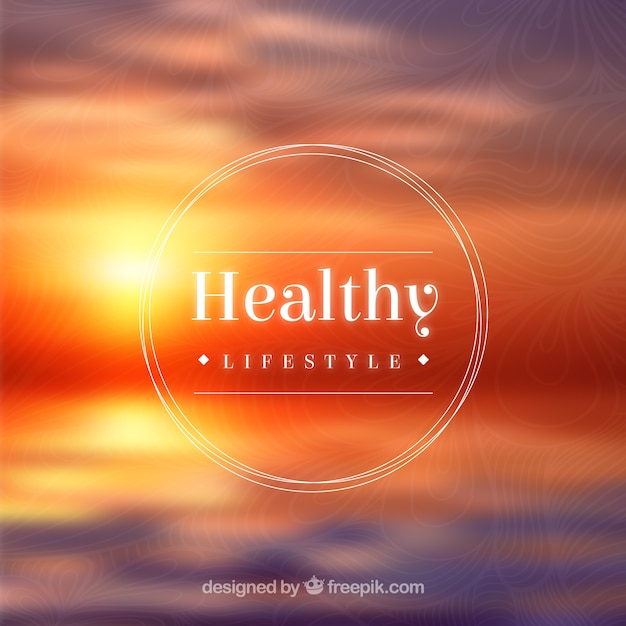 Healthy lifestyle badge on sunset\ background