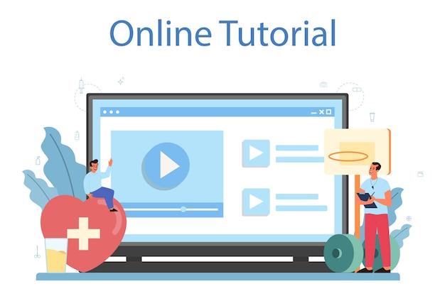 건강한 라이프 스타일 수업 온라인 서비스 또는 플랫폼. 의학 및 의료 교육에 대한 아이디어. 프리미엄 벡터