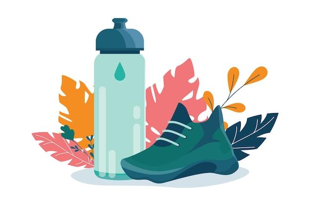 건강한 라이프 스타일 개념. 스포츠 스니커즈 및 스포츠 병. 피트니스 실행 또는 조깅 개념. 건강하고 활동적인 라이프 스타일에 대한 아이디어. 프리미엄 벡터