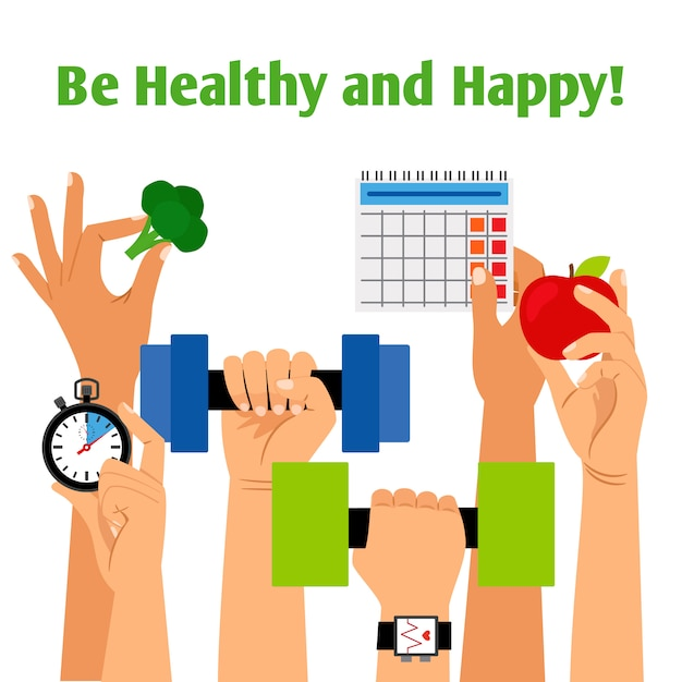 Healthy lifestyle concept with hands holding fitness, proper nutrition and daily routine symbols Premium Vector