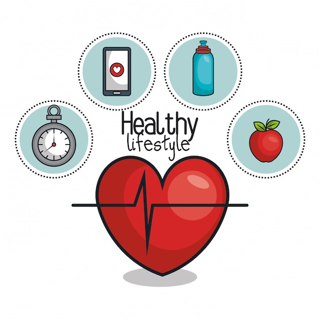 Healthy lifestyle elements icons design Premium Vector