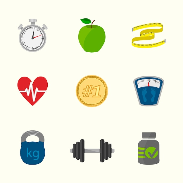 Healthy lifestyle icons collection Free Vector