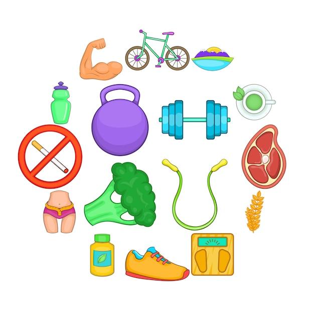 Healthy lifestyle icons set, cartoon style Premium Vector